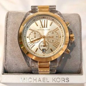 NWT MICHAEL KORS $226 Bradshaw Clear Gold Watch